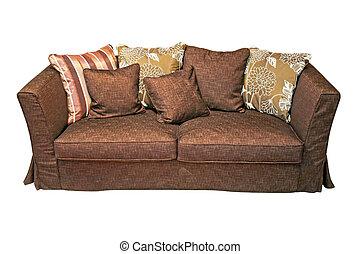 sofa, bruine