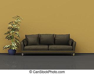 sofa brun