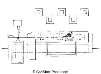 Sofa, chair, lamp and table with potted plant. Hand drawn ...