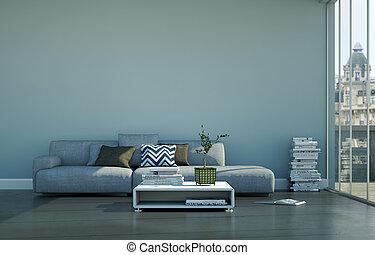 sofa, clair, table, salle, gris