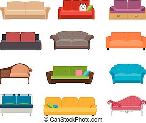 Sofa colored vector set. Comfortable couch collection...