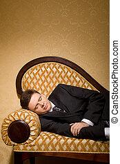 sofa, complet, salle, homme affaires, dormir