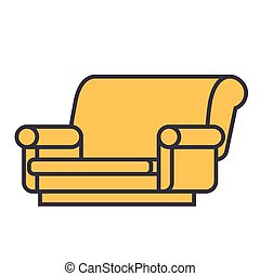 Sofa concept. Line vector icon. Editable stroke. Flat linear illustration isolated on white background