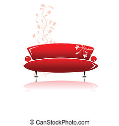 sofa, conception, rouges