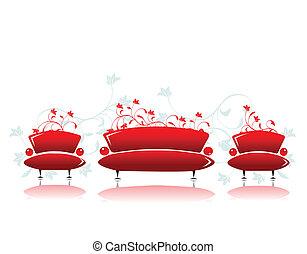 sofa, conception, rouges, fauteuil