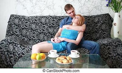 sofa, couple, délassant, maison