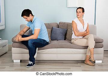 sofa, couple, dos, séance