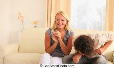 sofa, couple, heureux, séance