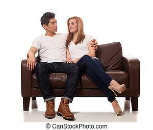 sofa, couple, jeune