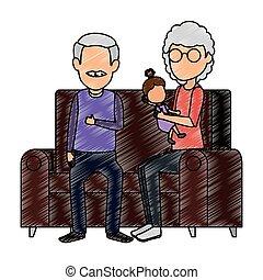 sofa, couple, petite-fille, grands-parents