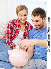 sofa, couple, piggybank, sourire, séance