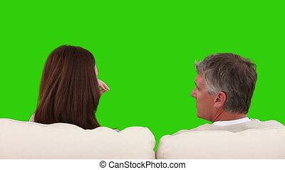 sofa, couple, retiré, conversation