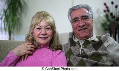 sofa, couples aînés, séance