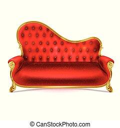 sofa cuir, divan, réaliste, vecteur, luxueux, rouges