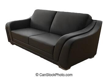 sofa cuir, isolé, arrière-plan., vecteur, noir, blanc