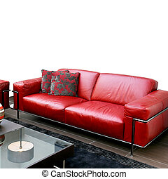 sofa cuir, rouges