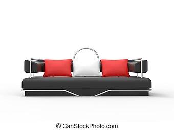 sofa, czarnoskóry, poduszki, czerwony
