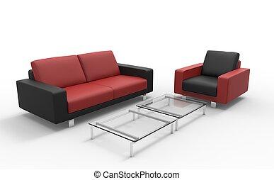 sofa, czarny czerwony, otomana