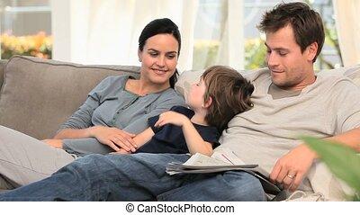sofa, délassant, famille