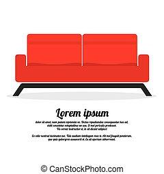 sofa., deux, rouges, siège
