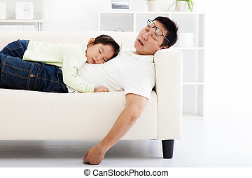 sofa, dormir, fille, père