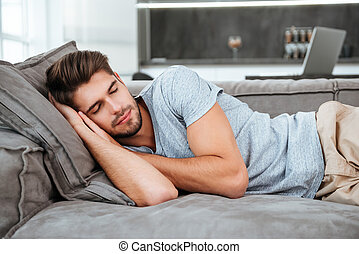sofa, dormir, homme, fatigué