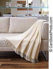 sofa, drapiert, aus, werfen, creme