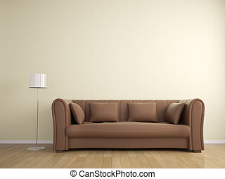 sofa, en, lamp, meubel, muur, beige, kleur, interieur