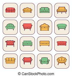 sofa, ensemble, icône