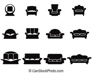 sofa, ensemble, noir, icônes