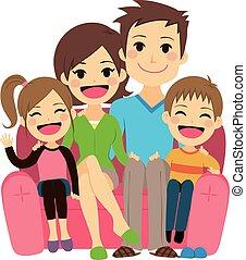 sofa, familie, glade