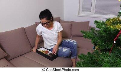 sofa, femme, décorations noël