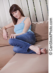 sofa, femme