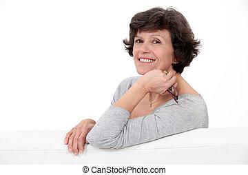 sofa, femme relâche