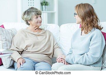 sofa, femmes, séance
