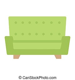 Sofa flat icon, Furniture and interior element, couch vector...