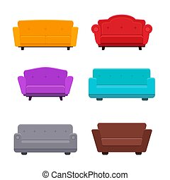 Sofa flat icons vector collection - Vector set of various...