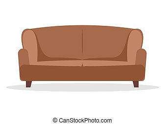Sofa flat vector icon furniture. Interior couch home sofa seat illustration design