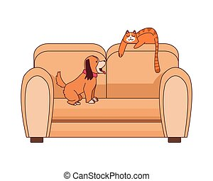 sofa, forniture, livingroom, mascottes