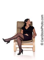 sofa, frau entspannung