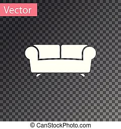 sofa, freigestellt, abbildung, hintergrund., vektor, weißes, durchsichtig, ikone