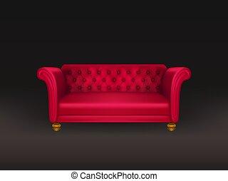 sofa, freigestellt, hintergrund., couch, schwarz rot