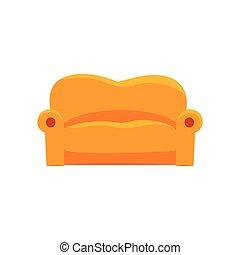 Sofa furniture for relaxation cartoon vector Illustration...