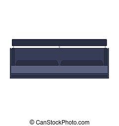 Sofa furniture vector icon front view illustration design. Living room interior seat element. Flat divan house cozy