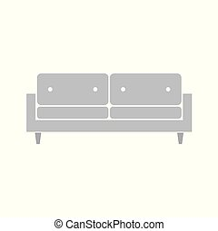 sofa, grijze , pictogram
