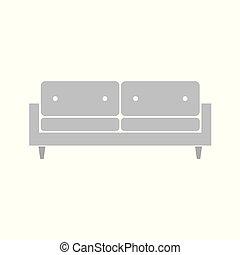 sofa, grijze , pictogram