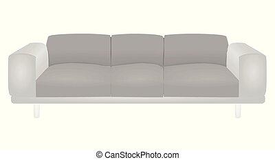 sofa, gris, lit