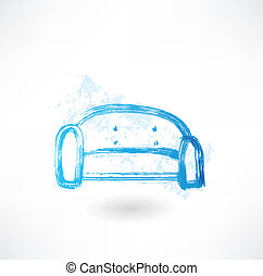 sofa, grunge, icône