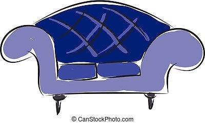 Sofa hand drawn design, illustration, vector on white background.