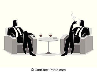 sofa, hommes affaires, deux, séance